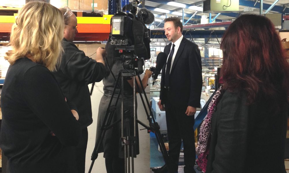TR Fastenings Dave Fisk interview whilst Abi and Aneela (Rose Media Group) look on_close-up